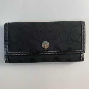 Coach Signature fabric/leather checkbook wallet